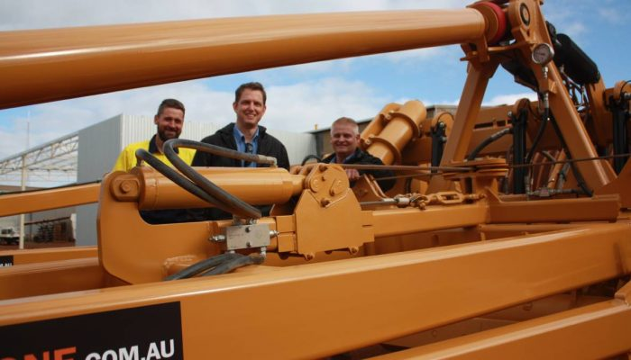 Reefinator goes hydraulic Cutts Engineering general manager Kyle Cutts (left), Rocks Gone chief mechanical design engineer Shane Long and Rocks Gone managing director Tim Pannell check out the prototype H4 Reefinator which will be unveiled at next week's Dowerin GWN7 Machinery Field Days. More than two years of research and development went into developing the new model. It is the result of more than two years of research and development, involving more than 2500 hours of testing in a range of rocky soil types from granite, hematite to magnetite and sheet ironstone. Designed by former Yuna farmer and Rocks Gone managing director Tim Pannell, it has been manufactured by Cutts Engineering, Manjimup and is considered the answer to working deeper in a wider range of rock types and hardpans, expanding applications unable to be achieved by the original Reefinator. It also has been designed to work through stubble, with tynes set at 335 millimetre spacings and opens up a whole new way of renovating paddocks for pasture and cropping.