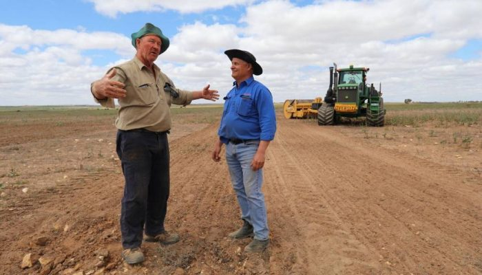 Ballidu farmer Phil Mincherton (left) and Rocks Gone founder Tim Pannell discuss the size of the rocks the Reefinator crushed into pea gravel, turning rocky outcrops into a seed bed. Mr Mincherton has seen a 1.1-2.6 tonnes a hectare wheat yield increase and a 2.3t/ha increase in barley yields. Photo: Lauren Calvin. He trialled deep ripping and rock crushing, using the Reefinator, in strips and on parts which had never grown a crop. The result was favourable with the untreated run growing 1.2-1.4 tonnes a hectare, while the Reefinated plot yielded 2.3-4t/ha of wheat, a 1.1-2.6t/ha increase. Mr Mincherton also grew crops on land that had never been able to establish growth before. In a good year his barley yielded 2.5-3t/ha, but his rocky country was lucky if it reached 1t/ha. After Reefinating, the laterite sections on his hills yielded 5t/ha while the rest of his barley in the valley yielded 2.7t/ha, due to frost. A huge percentage of the State's farming country is covered in rocky outcrops which are often uncroppable or very low yielding, Pannell said. The Reefinator can get through those rocks, and after a few passes crush them up, incorporate the topsoil and leave a level finish