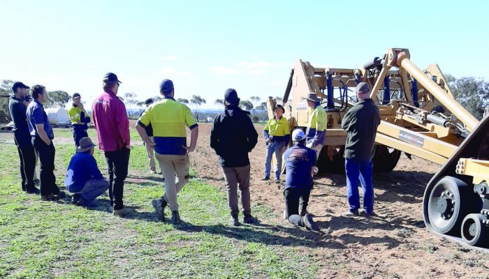 Many Torque readers would have been attending the annual Newdegate Machinery Field Days today. Instead a few farmers gathered to check out the Rocks Gone Reefinator renovating part of the field days site. Rocks Gone managing director and inventor Tim Pannell (third from right) provided all the information on how the machine worked. ONE of the main highlights of the early Newdegate Machinery Field Days was the machinery demonstrations. And it felt nostalgic recently when the Rocks Gone Reefinator was put into action on the site in front of several interested farmers. The reason for the event was a generous gesture by Rocks Gone to clear up some ironstone country on the north west side of the field days site.